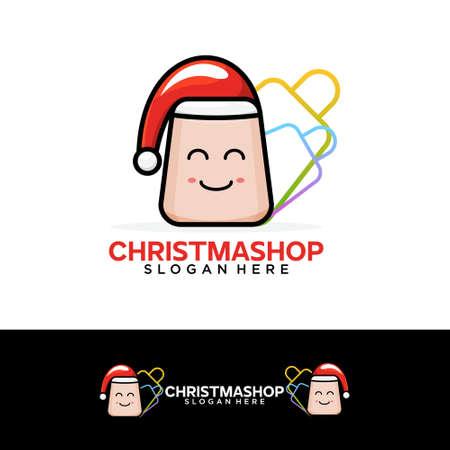 Christmas shop icon design vector template