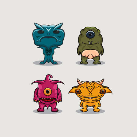 Creative aliens set design vector Stock Illustratie