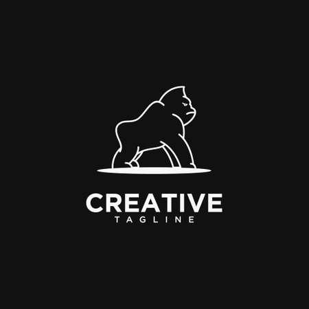 Creative Gorilla Line art .Logo design vector template.
