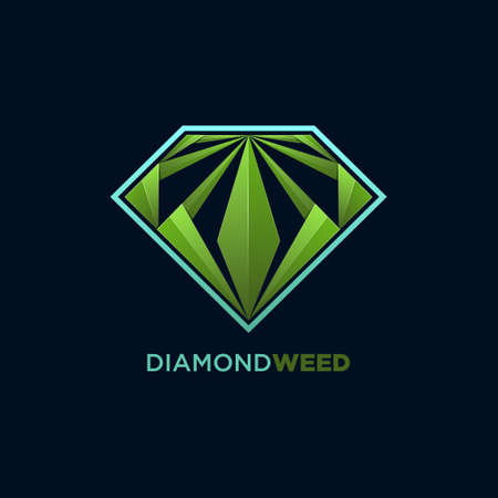 Weed and diamond concept design vector template