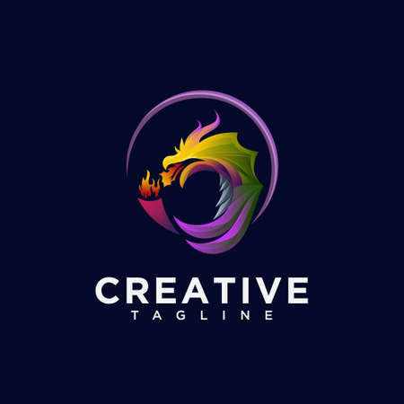 The dragon with torch logo design vector