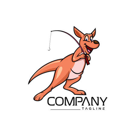 Kangaroo will go fishing , creative design vector template