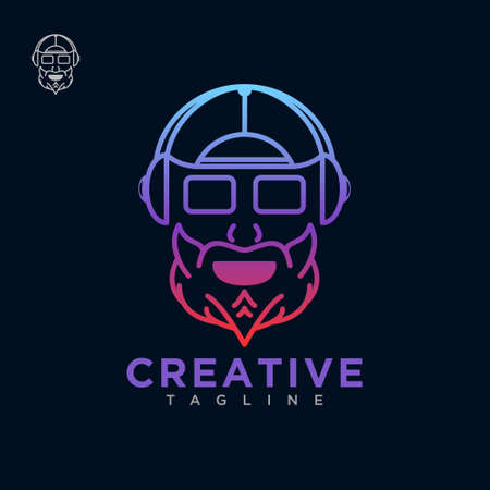 Character dj logo with line art style design vector template Иллюстрация