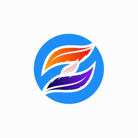 letter Z logo and feather concept, colorful design illustration