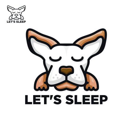 Cute dog, sleep concept design vector template