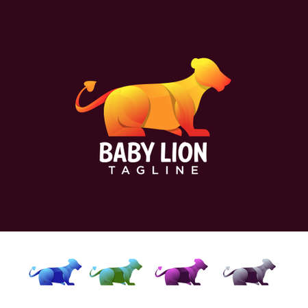 Baby lion art with colorful style design vector template