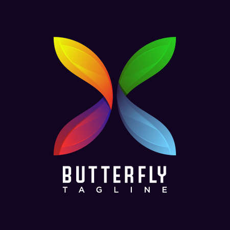 Butterfly logo, awesome design vector template