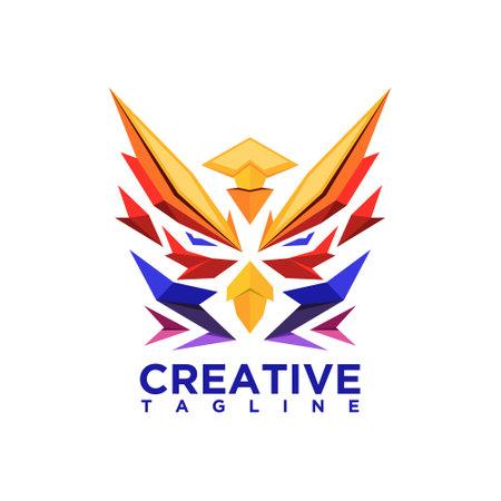 Owl head, creative design vector template