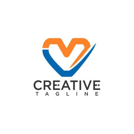 M V or V M letter, with heart concept design vector