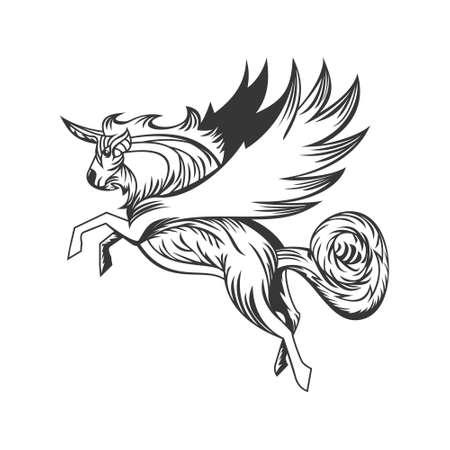 Unicorn with line art style design vector Vektorgrafik