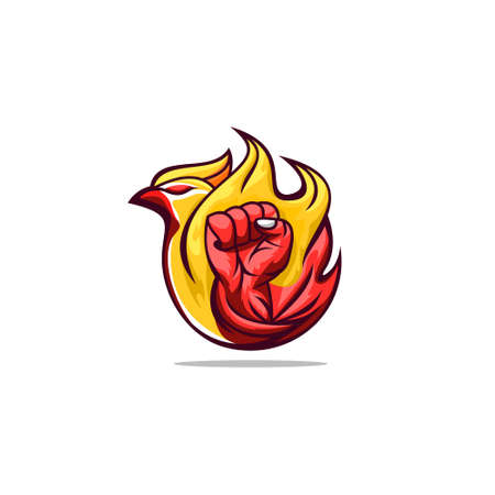 Hands clenched bird and fire concept design vector