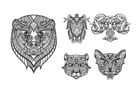 Animal mandala bundle , creative design vector template