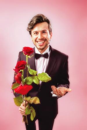lebensfreude: Man verliebt mit Rosen