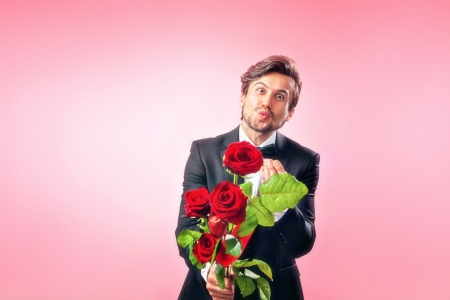 Man in love with roses photo
