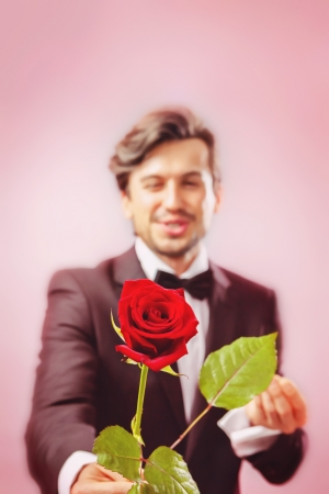 Man in love with roses