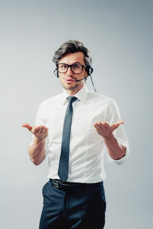 Man with headset during a consultation Stock Photo - 18328140
