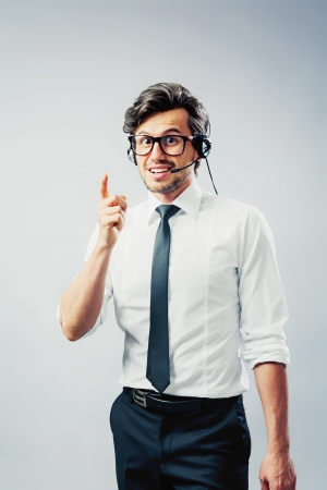 Telephone counseling man with cue Stock Photo