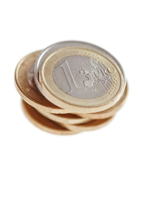 A pile of euro coins isolated on white photo