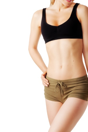 perfect female body: Close up of perfect female body isolated on white