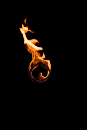 Burning ring of fire isolated on black