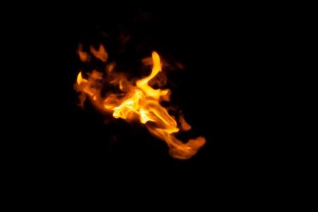 Gasfire burning isolated on black
