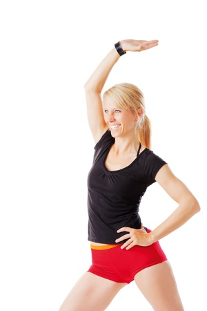 Blonde woman doing exercises isolated on white Stock Photo - 21091146