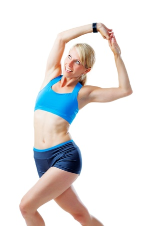 Blonde woman doing fitness exercises isolated on white