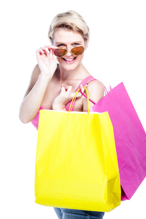 Close up of woman with shopping bags Stock Photo