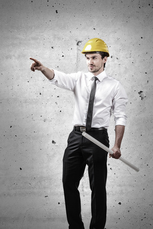 executive helmet: Architect pointing finger and holding a plan Stock Photo