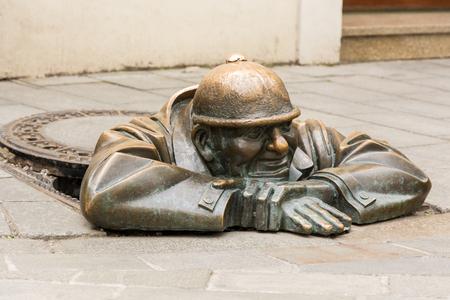 Cumil statue in Bratislava Old Town Editorial