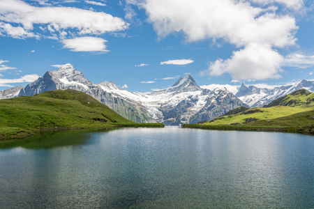 View from Bachalpsee is one of the most famous in Swiss Alps Stock Photo