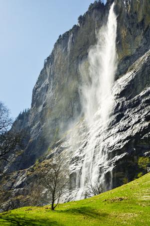 Staubbach waterfalls in Lauterbrunnen, Switzerland
