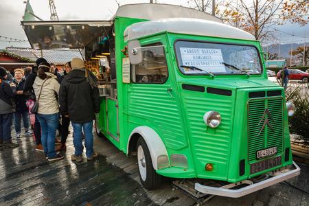 ZURICH, SWITZERLAND - NOVEMBER 2017 - Food stall made from old Citroen on Christmas market in Zurich