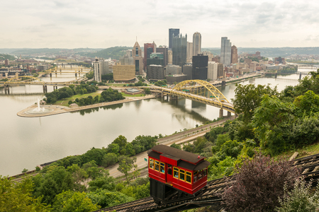 PITTSBURGH, USA - AUGUST 15, 2016: Tourists transporting via Duquesne incline to top of Mount Washington in Pittsburgh in August 2016