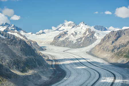 The longest glacier in Alps, Aletsch glacier is more than 20 kilometers long. View from Eggishorn peak in Swiss Alps