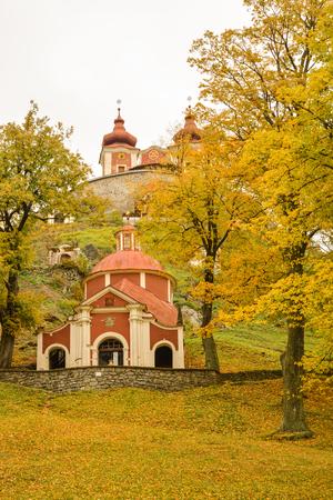 Small chapel, part of Calvary in Banska Stiavnica, Slovakia during fall Stock Photo