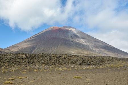 Mount Ngauruhoe volcano in New Zealand as seen during Tongariro Alpine crossing hike Stock Photo