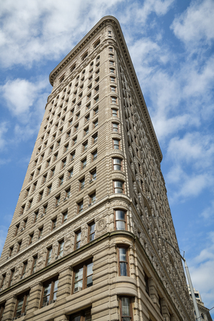 New York City, United States - October 5, 2018: Detailed view on famous Flatiron Building in New York City, USA during October 2018