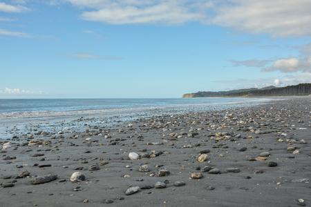 Beautiful rocky beach with small stones in West Coast, New Zealand Stock Photo