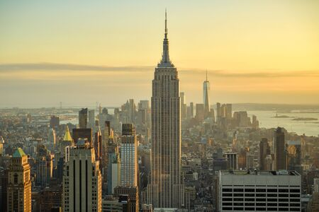 New York City, United States - October 5, 2018: Beautiful view on Manhattan as seen from top of Rockefeller Center in New York, United States shortly before the sunset during October 2018