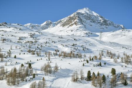 Skiing slopes in Diavolezza skiing resort close to St. Mortiz in Switzerland Stok Fotoğraf