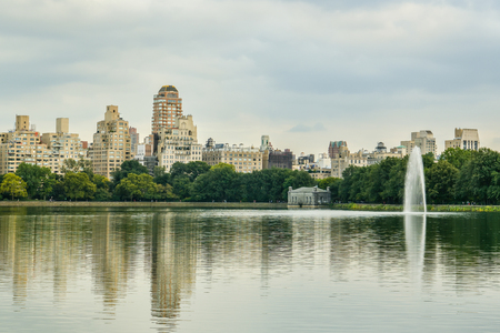 New York City, United States - October 7, 2018: Jacqueline Kennedy Onassis Reservoir in Central Park, New York City, USA during nice day in October 2018
