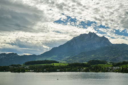 Lake Lucerne and Pilatus peak in Switzerland during dramatic weather
