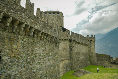 Castle walls of Montebello castle, one of the three castles in Bellinzona, Switzerland Editorial