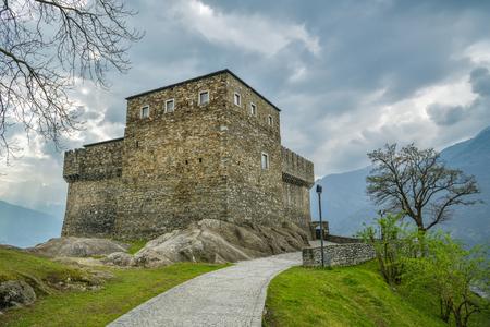 Bellinzona, Switzerland - April 6, 2019: Road leading to Sasso Corbaro Castle, one of three castles above the city of Bellinzona, Switzerland during April 2019