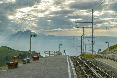 Rigi Kulm Switzerland - September 22, 2019: Train station on top of Mount Rigi in canton of Schwyz in Switzerland during cloudy day in September 2019 Redactioneel