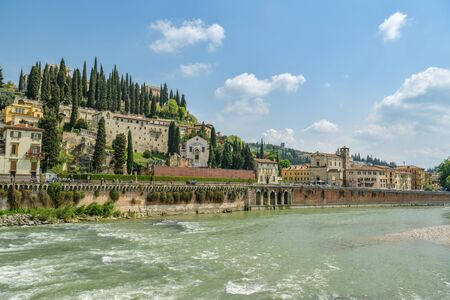 Verona, Italy - April 22, 2019: Castel San Pietro above the Adige river in Verona, Italy during sunny day in April 2019 Redactioneel