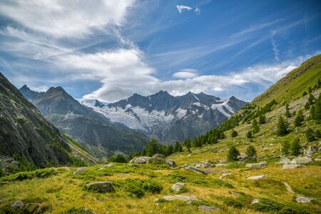 Beautiful view on Swiss Alps above the small village of Saas-Fee, Switzerland