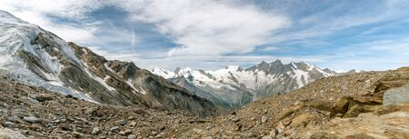 Panoramic view on Fee glacier located above the Saas-Fee village in southern part of Switzerland
