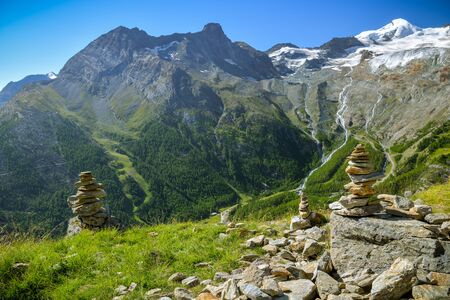 Small rock towers overlooking the Saas valley close to Saas-Fee village, Switzerland